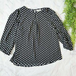Monteau Black & White Polka Dot Retro Work Blouse